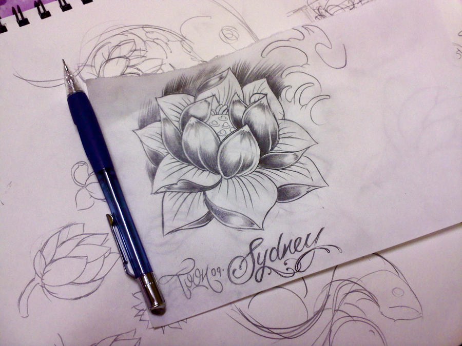 water lily tattoo sketch by samthedrawer on DeviantArt