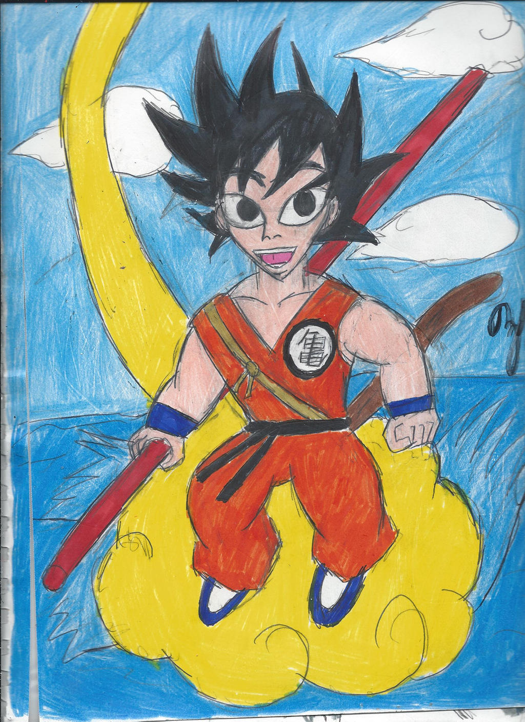 This is a graphic of Dramatic Goku On Nimbus Drawing