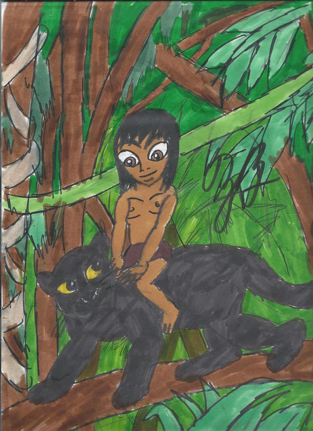 Mowgli And Bagheera Mowgli and bagheera by gorokai
