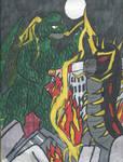 Godzilla vs Battra Larva by TheGreatBurg