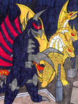 Gigan and King Ghidorah Rampage by TheGreatBurg