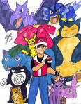 Red and his  Pokemon by TheGreatBurg