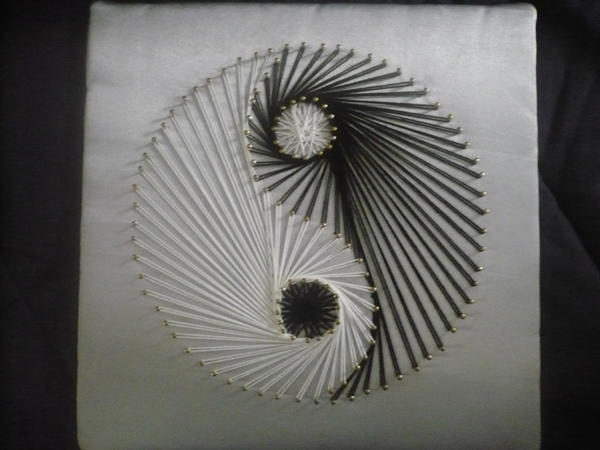 Yarn Art With Wood Designs With Black And White String