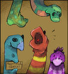 Sketch A Day_037|Puppet Sock Party