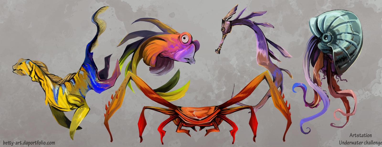 Artstation Underwater Challenge Line Up Creatures