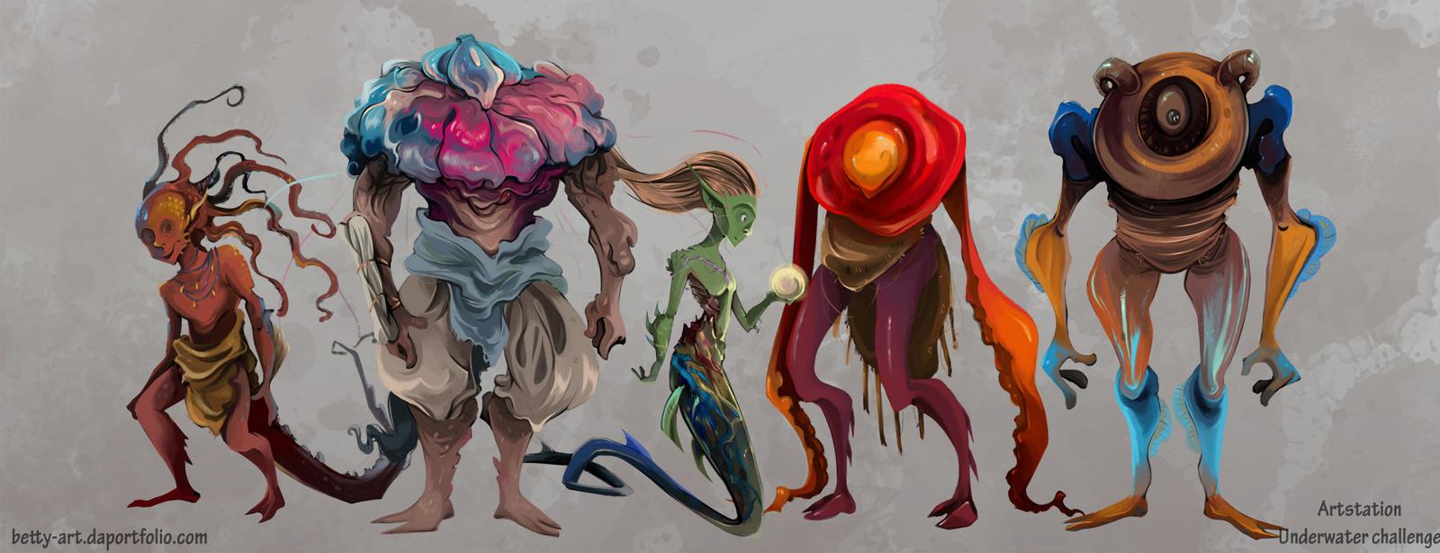 Artstation Underwater Challenge Line Up Humanoids