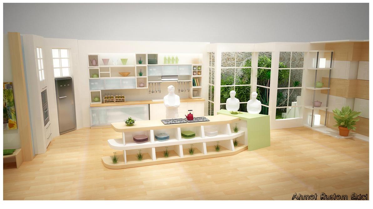 Kitchen design for a tv show by alliserdem on deviantart for Tv in kitchen design