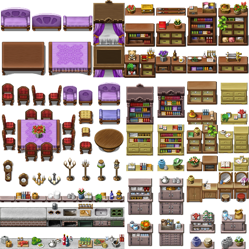 RPG MAKER - Tiles, Furniture favourites by Mareaw on