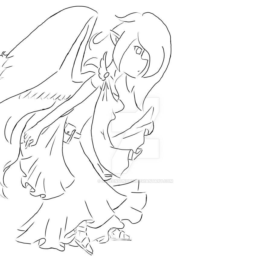 Angel Lineart by SaleenSundria