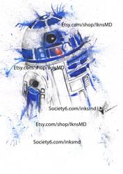 R2D2 watercolour by Spydi-mel