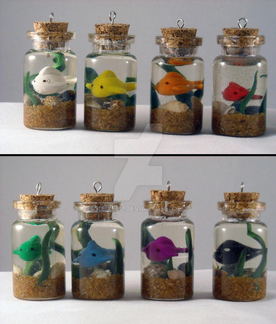 Itty Bitty Fishy Bottle Charm -- Taste the Rainbow by keixell
