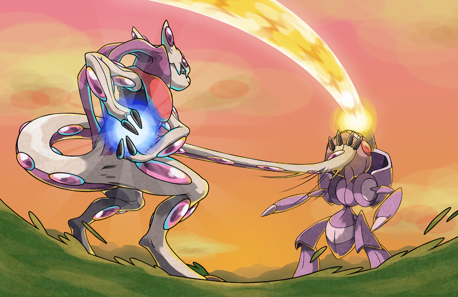 Mewthree VS Genesect by pokeluka on DeviantArt