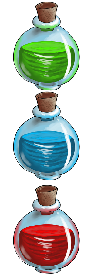 Red Blue Green Large Potions