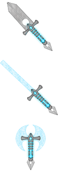 Cyber Weapons Axe, Sword, Dagger by AlishaVolkman