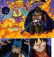 Kaido hybrid form and Big Mom -One Piece 1008- v2