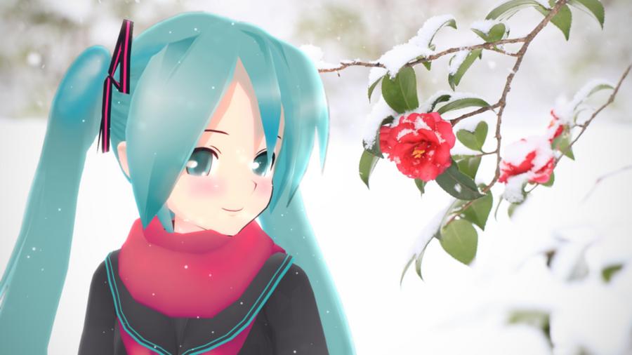 Snow camellia_Hatsune Miku MMD PV Dandelion by aki-2012-miku