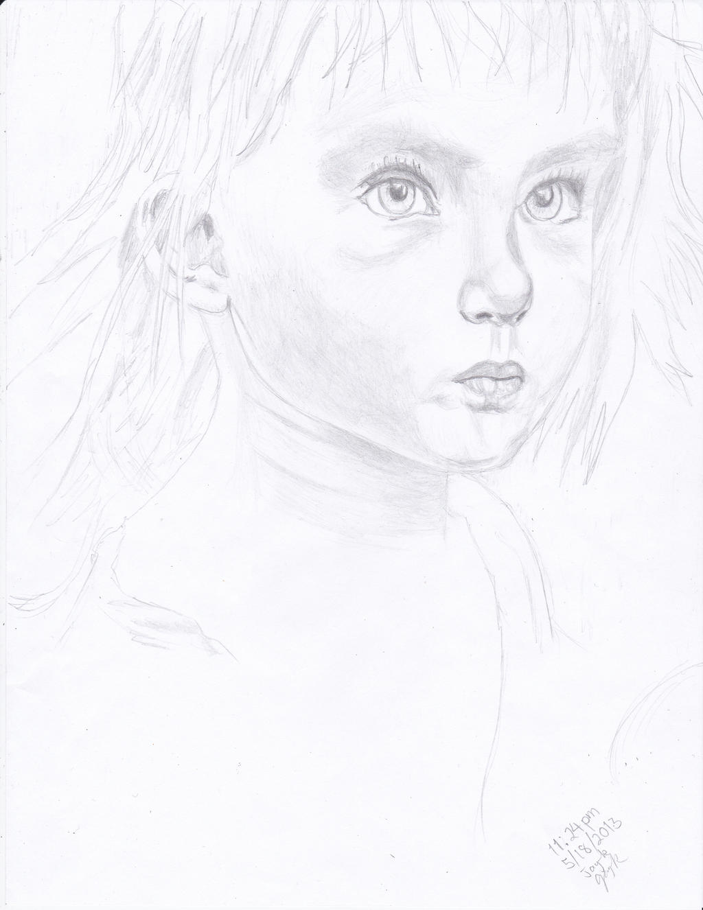 Cute Little Girl's Face (Pencil) by AplG7