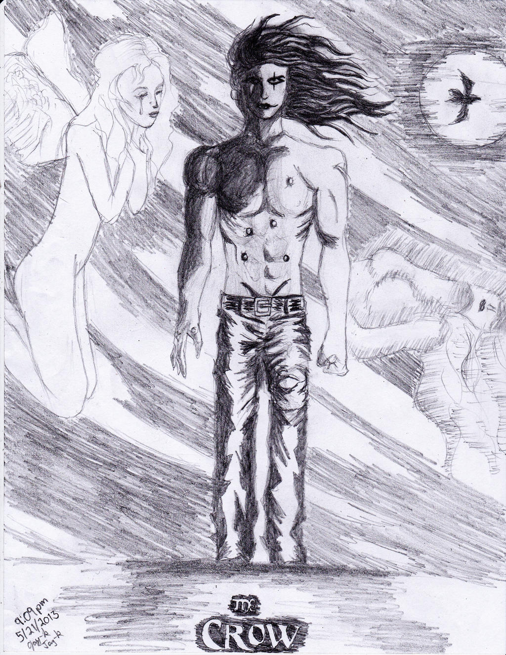 The Crow Eric Draven with Shelly angel (Pencil) by AplG7