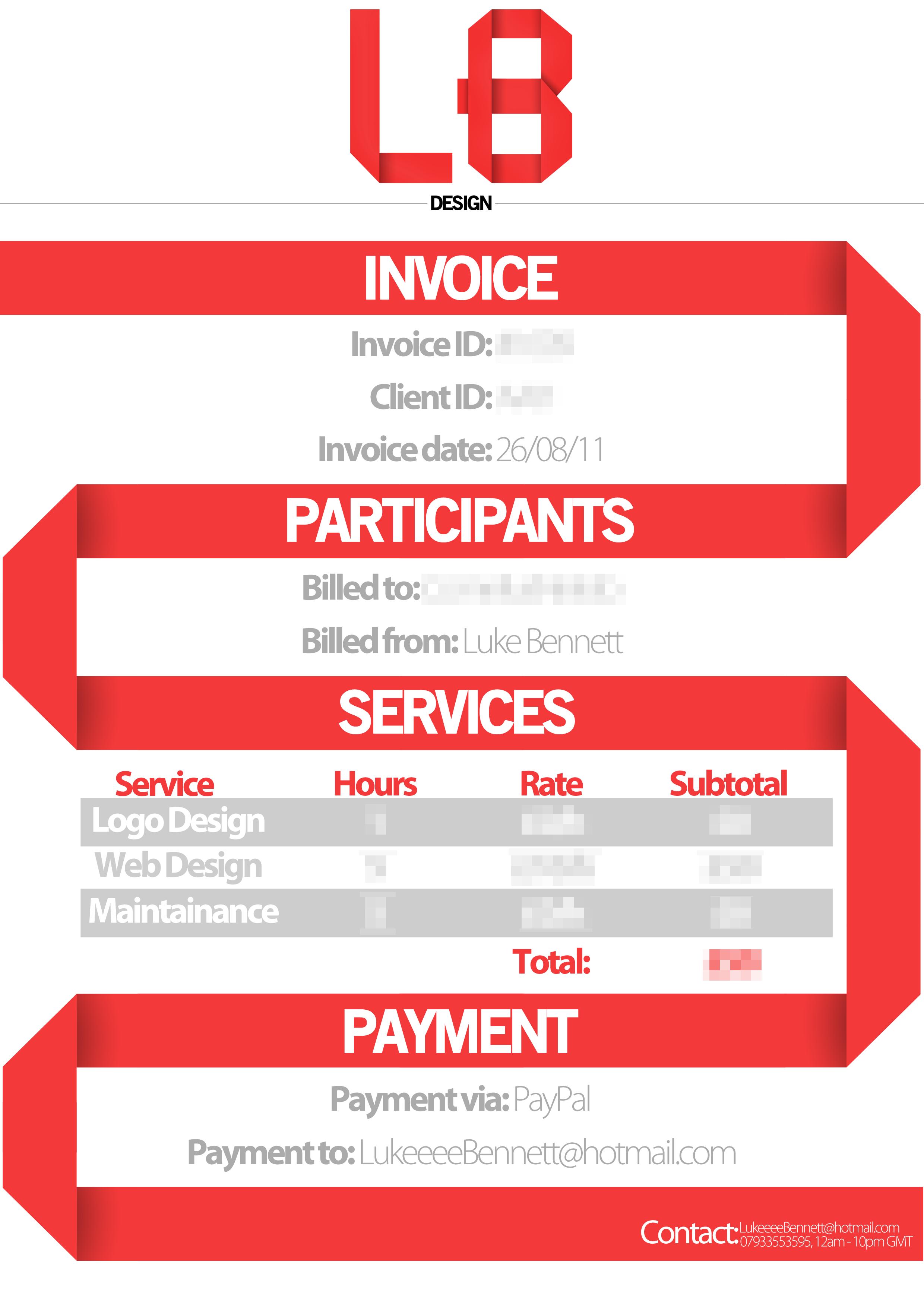 LBDesign Invoice Design By LukeeeeBennett LBDesign Invoice Design By  LukeeeeBennett  Invoice Designs