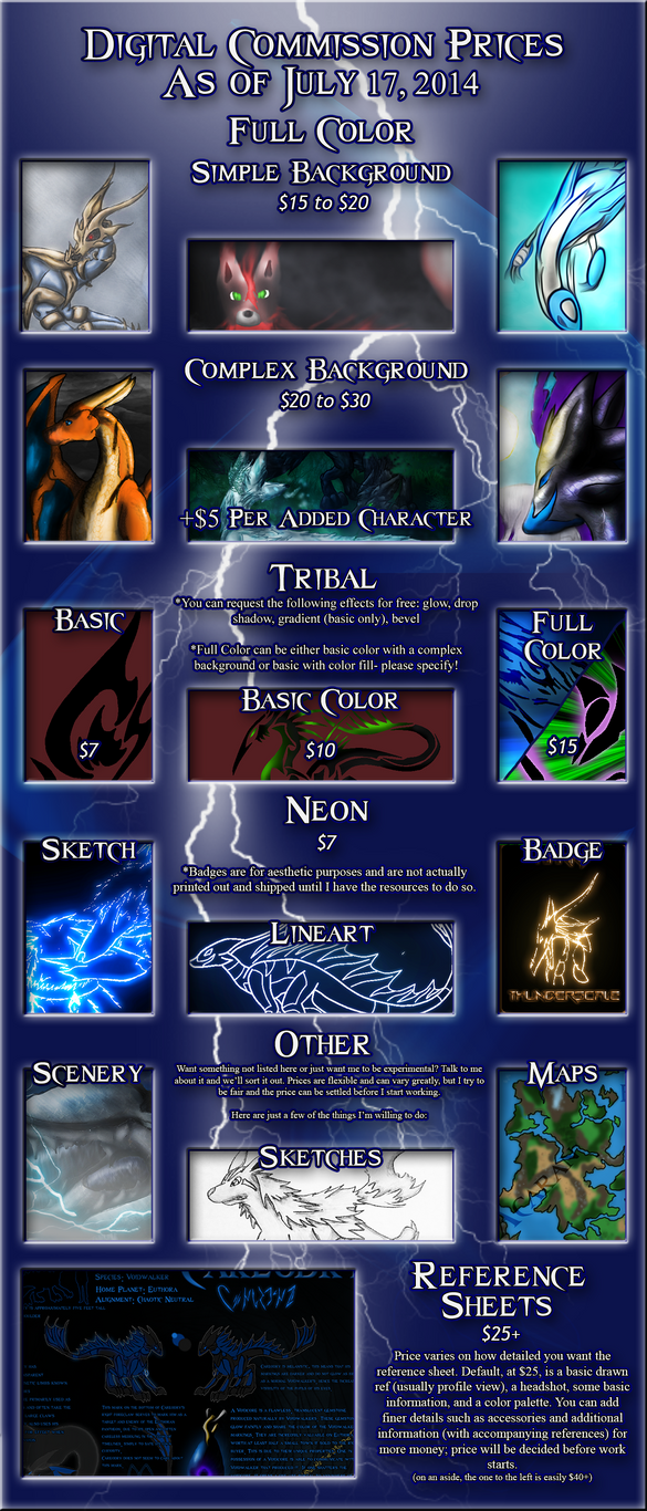 Commission Price Chart [Updated 7/17/2014] by Keileon