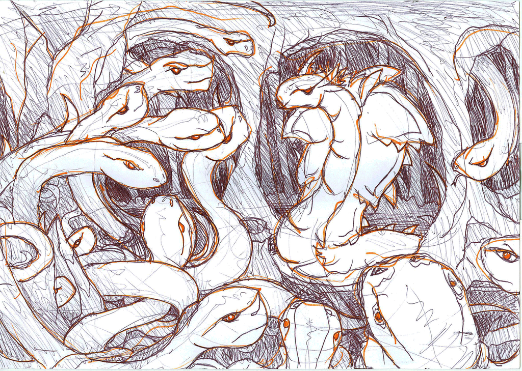Cave of snakes : rough sketch by VanoNTP