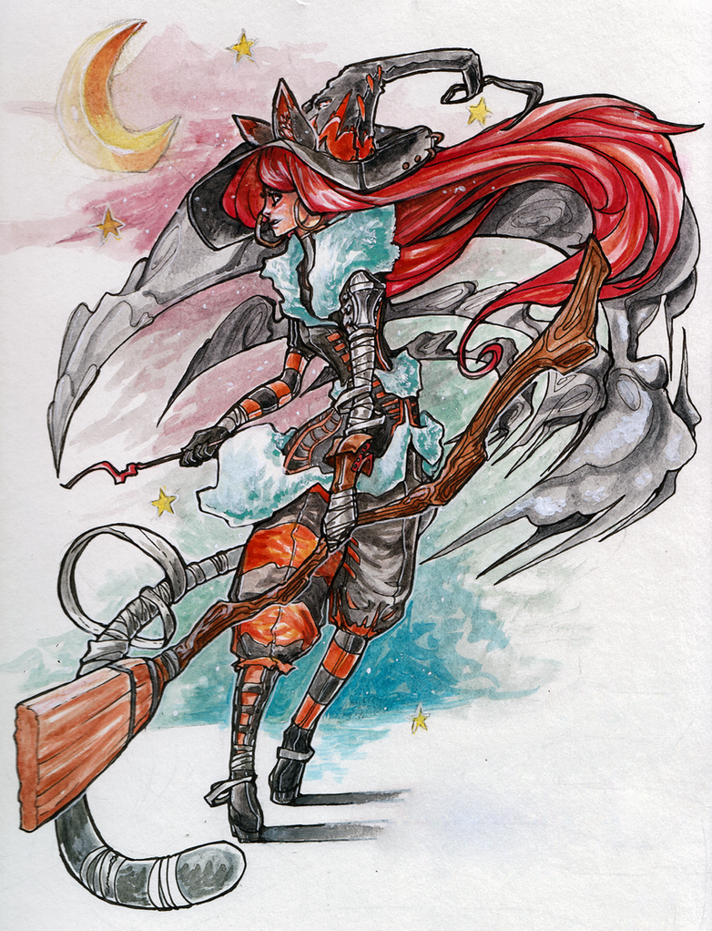 Watercolor - Witch by VanchaMarl