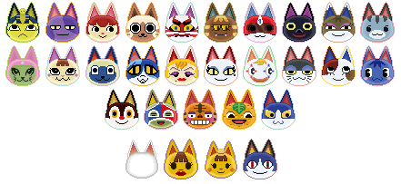animal crossing icons: cats by 1nklash