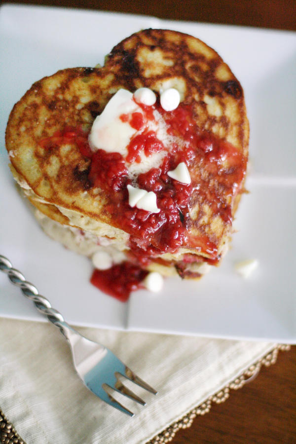 White Chocolate Raspberry Pancakes by laurenjacob