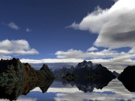 Mountains in so calm water