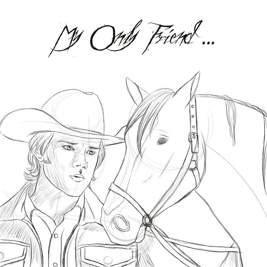 Cowboy And Horse Sketch  Photo#27