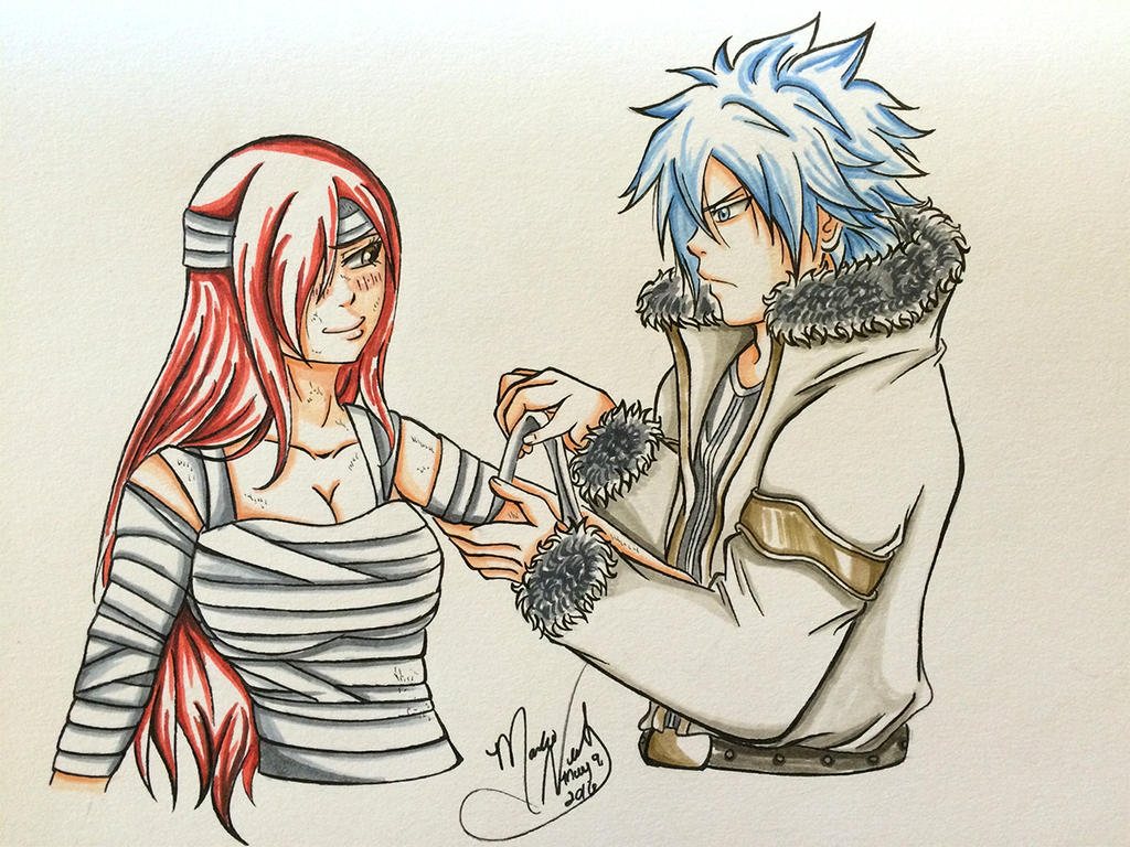Jellal Tending Erza's Wounds by SassyLilPanda