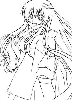 Lineart of Yuki-Onna from Nura