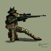 Doberman sniper by GasMaskFox