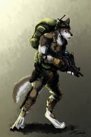 Wolf soldier by GasMaskFox
