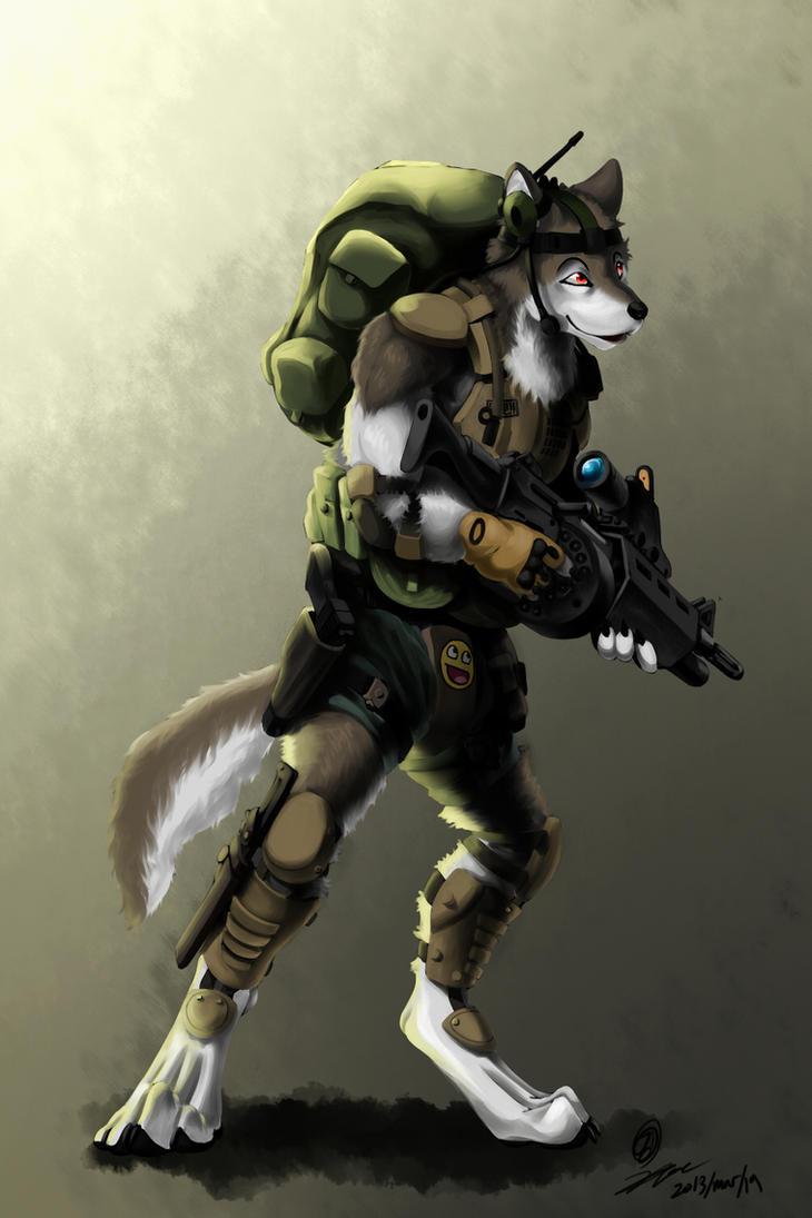 Anthro Wolf Soldier Wolf Soldier by Kta1540