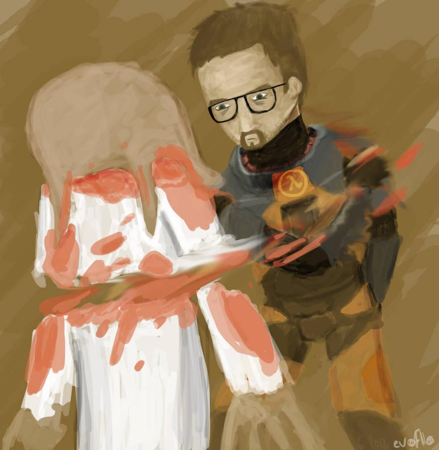 Gordon Freeman vs. Zombie by evoflorent
