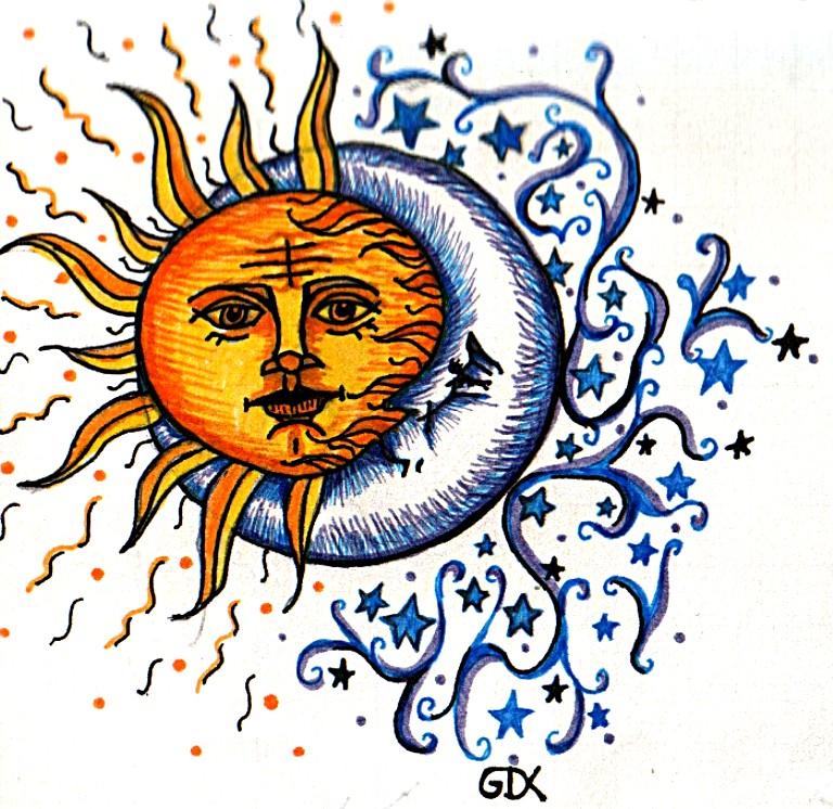 Finest sun moon tattoo by faerone on DeviantArt VK58