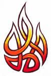 Fire tribal knot tattoo