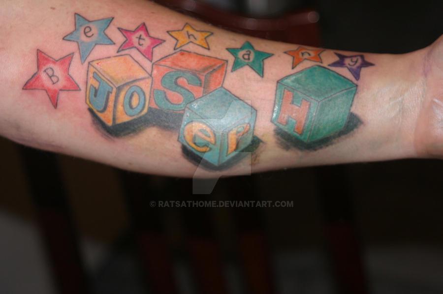 Kids names tattoo on Friend by Ratsathome on DeviantArt