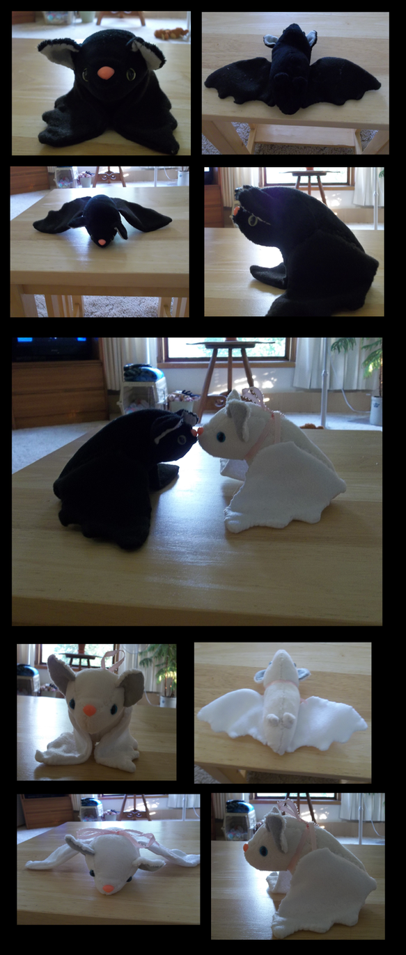 Ebony and Ivory Bat Plushies by Greenpolarbear47