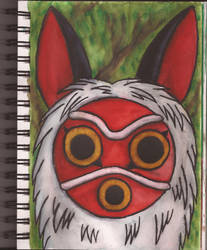 Watercolour Notebook #1: San's Mask by Greenpolarbear47