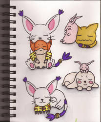 Watercolour Notebook #6: Digimon of Hope and Light