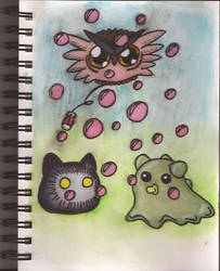Watercolour Notebook #7: Baby Digimon and Bubbles by Greenpolarbear47