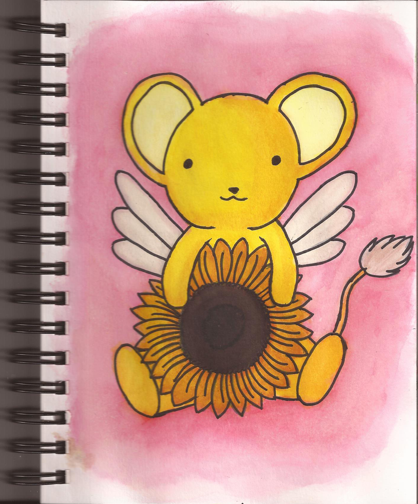Watercolour Notebook #11: Kero-chan with Sunflower by Greenpolarbear47