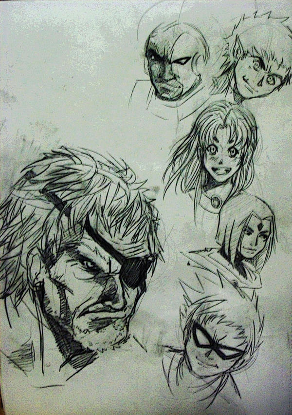 Teen Titians Sketches by ~Khenmes on deviantART