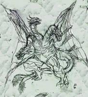 King Ghidorah Sketch by Khenmes