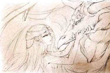 The Girl and the Dragon - Sketch 1 by Avani-Vale