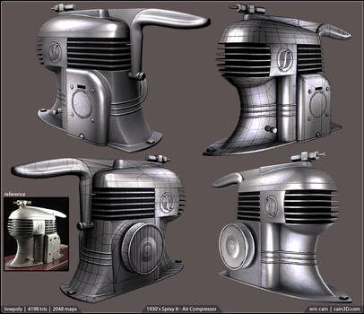 Lowpoly - 1930's Spray It Air Compressor
