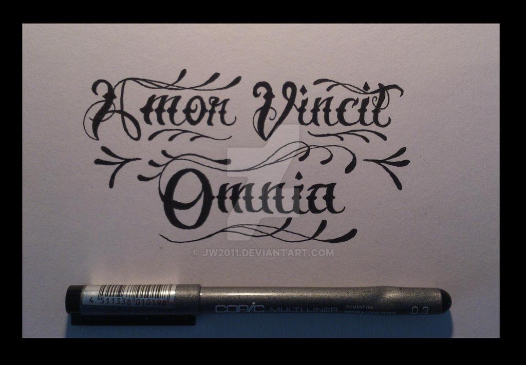 amor vincit omnia tattoo lettering by jw2011 on deviantart. Black Bedroom Furniture Sets. Home Design Ideas