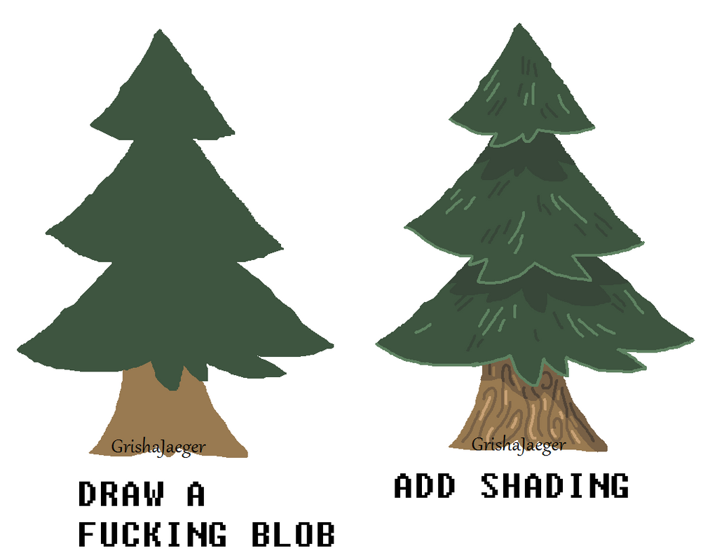 how to draw a good tree agressive tutorial by huntingpeople on